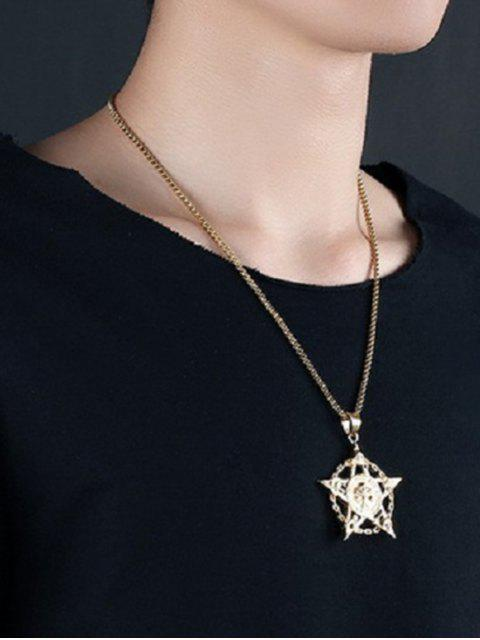 shops Punk Skull Star Hollow Out Necklace - GOLDEN  Mobile