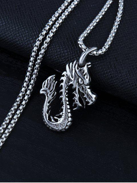 womens Retro Carved Dragon Pendant Necklace - GUNMETAL  Mobile