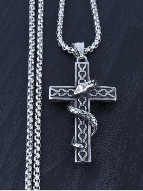 women Snake Wrapped Cross Pendant Necklace - GUNMETAL  Mobile