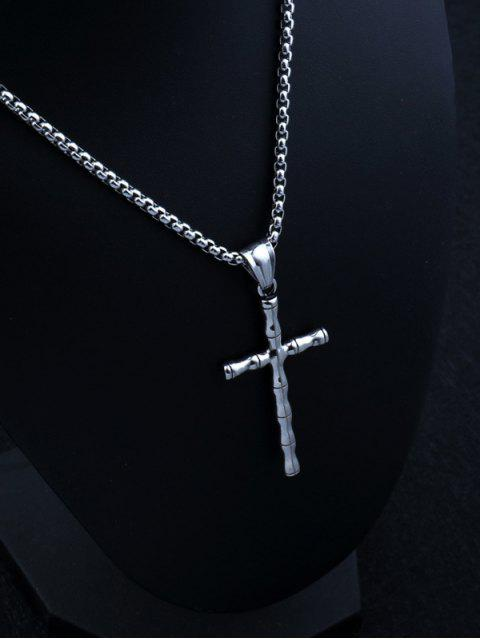 ladies Retro Cross Bamboo Chain Necklace - SILVER  Mobile