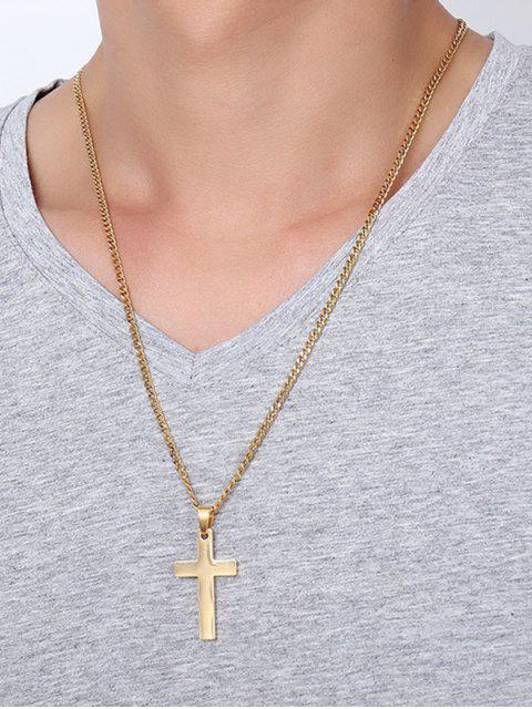 best Cross Pendant Stainless Steel Necklace - GOLDEN  Mobile