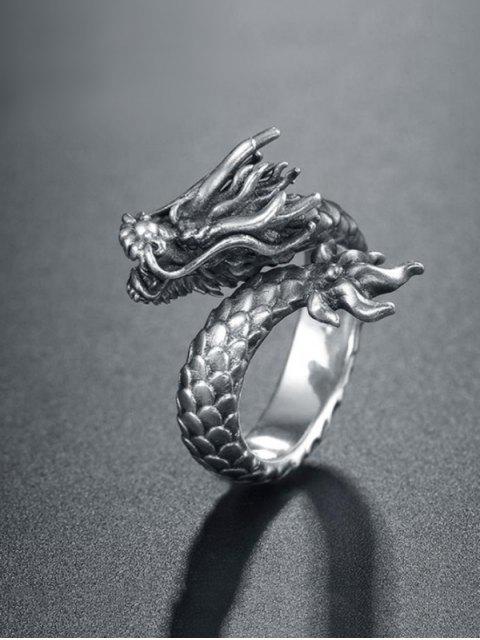 shop Carved Dragon Shape Open Ring - GUNMETAL  Mobile