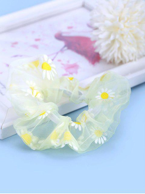 buy Daisy Flower Chiffon Transparent Scrunchy - LIGHT YELLOW  Mobile