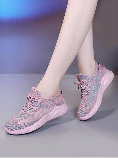 chic Mesh Breathable Camo Sneakers - LIGHT PINK EU 37 Mobile
