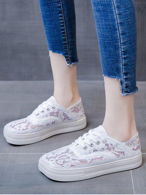 ladies Floral Lace Mesh Lace Up Shoes - WHITE EU 38 Mobile