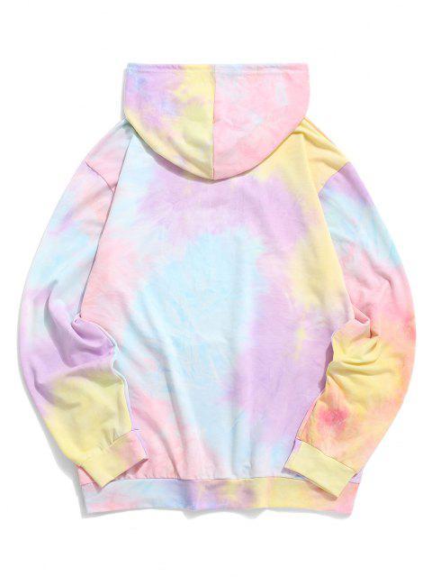 shops Tie Dye Print Letter Applique Graphic Hoodie - LIGHT PURPLE M Mobile