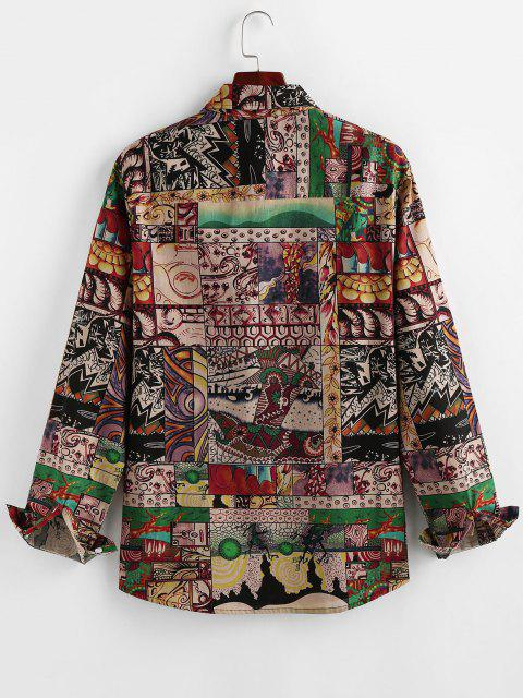 latest ZAFUL Flower Patchwork Print Button Up Shirt - MULTI S Mobile