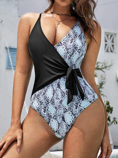 ZAFUL Snake Print Knot Surplice One-piece Swimsuit - أسود S Mobile