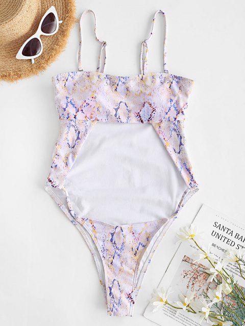 outfit ZAFUL Snake Print High Leg Cutout Bandeau One-piece Swimsuit - LIGHT PURPLE L Mobile