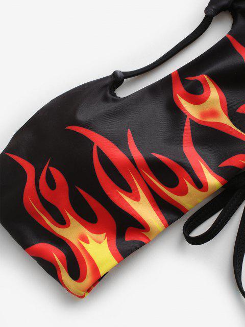 fancy ZAFUL Fire Print Lace Up Cutout High Leg Bikini Swimwear - BLACK S Mobile