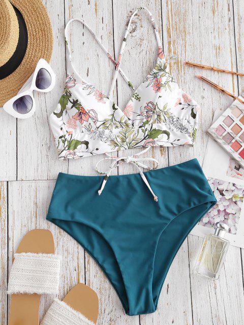 ZAFUL Badeanzug mit Durchgehendem Pflanzenmuster - Dunkelgrün M Mobile