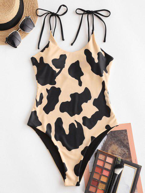 hot ZAFUL Cow Print Tie One-piece Swimsuit - LIGHT COFFEE L Mobile
