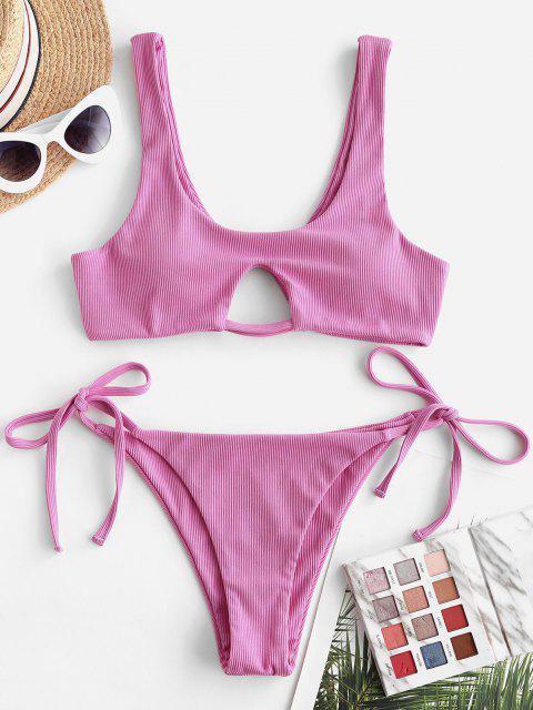 ZAFUL Gebundener Bikini Badebekleidung mit Gerippten Rippen - Hell-Pink S Mobile