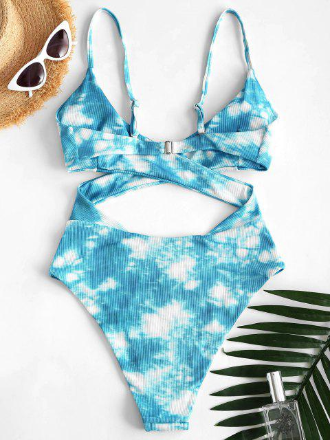 best ZAFUL Tie Dye Ribbed Criss Cross Cutout One-piece Swimsuit - LIGHT BLUE M Mobile