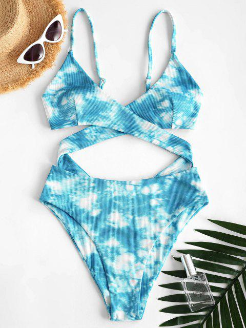 new ZAFUL Tie Dye Ribbed Criss Cross Cutout One-piece Swimsuit - LIGHT BLUE XL Mobile