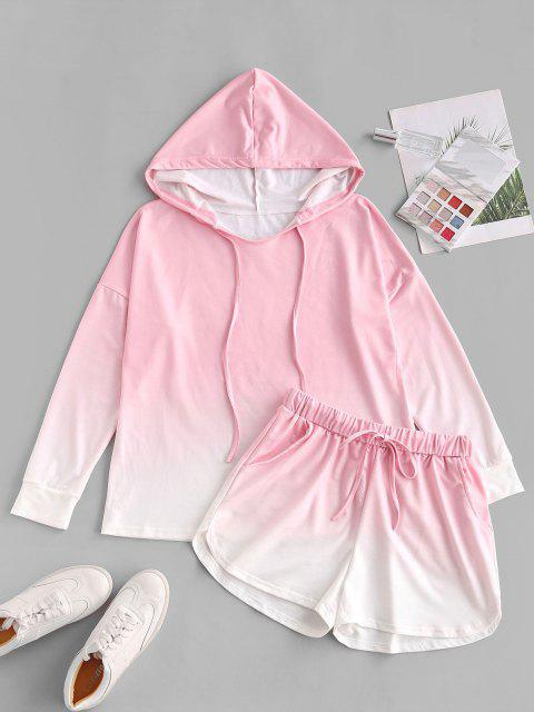 Tunnelzug Lounge Zweiteiliges Ombre Set - Hell-Pink M Mobile