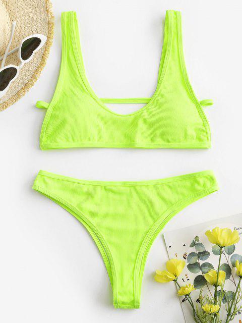 lady ZAFUL Neon Ribbed Back Cutout Cheeky Bikini Swimwear - GREEN M Mobile