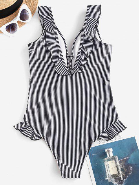 unique ZAFUL Ruffle Vertical Striped One-piece Swimsuit - BLACK S Mobile