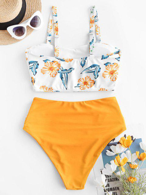 lady ZAFUL Flower Print Ruched High Cut Tankini Swimwear - YELLOW S Mobile