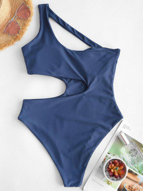 women ZAFUL Asymmetrical Cutout One Shoulder One-piece Swimsuit - BLUE S Mobile