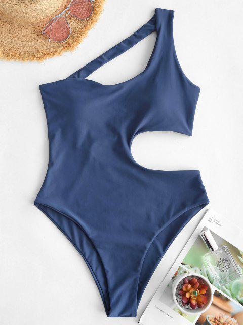 ladies ZAFUL Asymmetrical Cutout One Shoulder One-piece Swimsuit - BLUE L Mobile