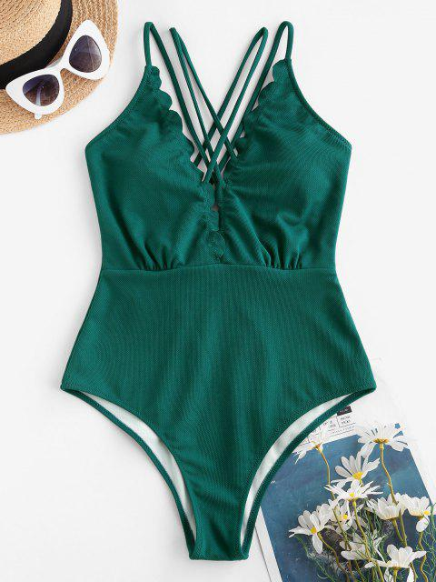 affordable ZAFUL Textured Scalloped Backless Strappy One-piece Swimsuit - MEDIUM SEA GREEN S Mobile