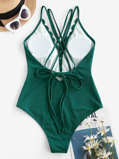 women ZAFUL Textured Scalloped Backless Strappy One-piece Swimsuit - MEDIUM SEA GREEN XL Mobile