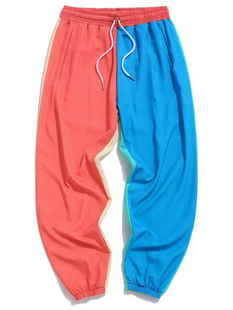 womens Color Blocking Panel Elastic Waist Pants - MULTI-B S Mobile