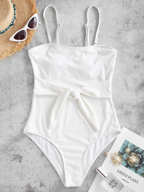 ZAFUL Waist Knot Ribbed One-piece Swimsuit - أبيض S Mobile