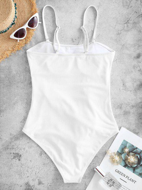 hot ZAFUL Waist Knot Ribbed One-piece Swimsuit - WHITE S Mobile
