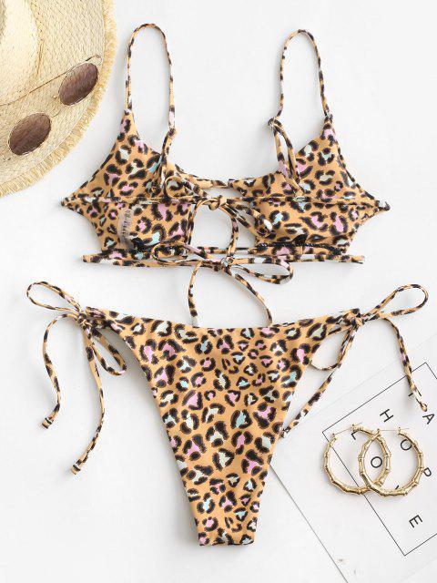 ZAFUL Bikini Recortado con Estampado de Animal - Amarillo profundo M Mobile
