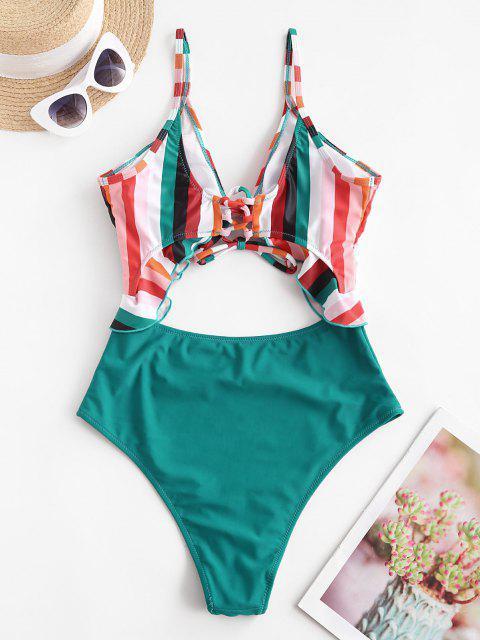 fashion ZAFUL Rainbow Tied Ruffle Lace Up Cutout One-piece Swimsuit - MULTI-A M Mobile