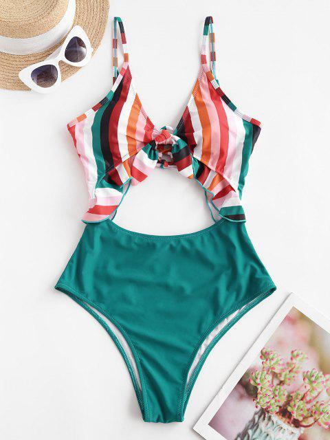 chic ZAFUL Rainbow Tied Ruffle Lace Up Cutout One-piece Swimsuit - MULTI-A L Mobile