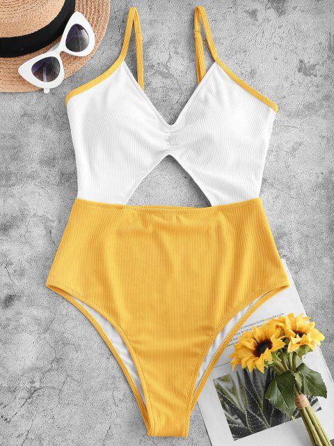 shop ZAFUL Ribbed Cutout Two Tone One-piece Swimsuit - YELLOW M Mobile