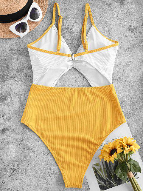 shops ZAFUL Ribbed Cutout Two Tone One-piece Swimsuit - YELLOW L Mobile