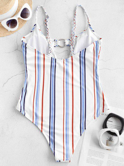 trendy ZAFUL A Great Escape Stripes One-piece - LIGHT BLUE S Mobile