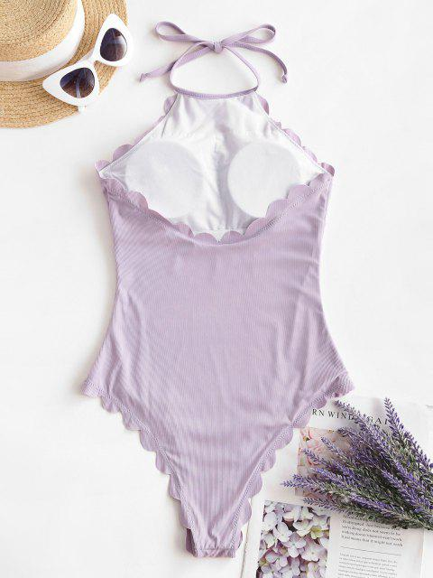 fancy ZAFUL Eyeing On Edges Ribbed One-piece Swimsuit - LIGHT PURPLE S Mobile