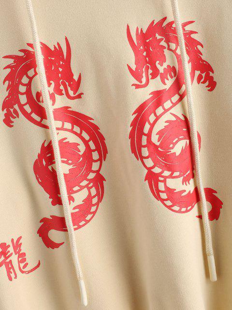 women's ZAFUL Graphic Dragon Print Oriental Hoodie - APRICOT L Mobile