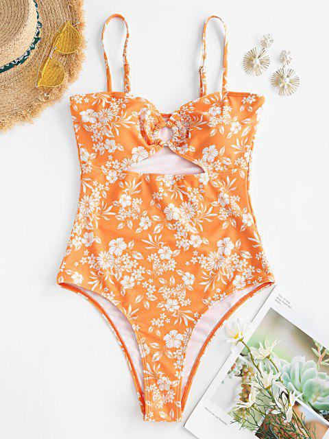 trendy ZAFUL O-ring Floral Cut Out One-piece Swimsuit - ORANGE S Mobile