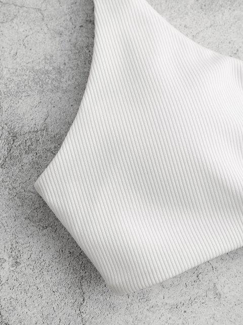 best ZAFUL Ribbed Knot Bikini Top - WHITE M Mobile