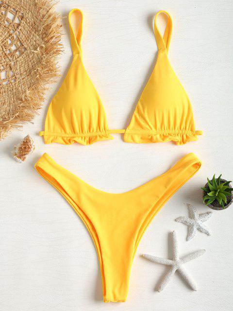 Emma MacDonald x Ensemble de Bikini T-String Plissé - Jaune Canard Caoutchouc L Mobile