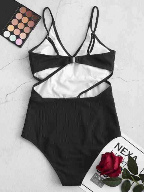 buy ZAFUL Ribbed Cutout Cami One-piece Swimsuit - BLACK L Mobile