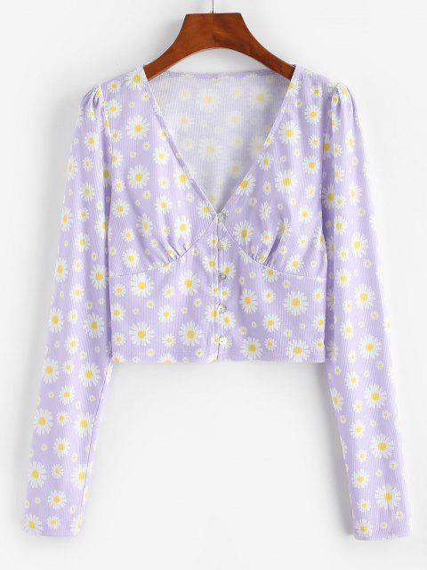 sale ZAFUL Daisy Print Plunge Crop T Shirt - MAUVE S Mobile