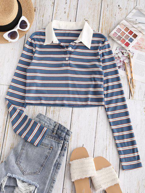 outfit ZAFUL Ribbed Stripes Half Buttoned Cropped Tee - BLUE M Mobile