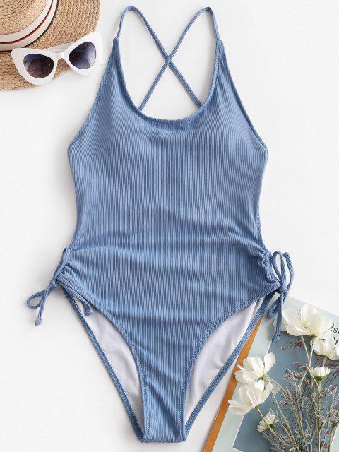 shop ZAFUL Cinched Ribbed Backless Criss Cross One-piece Swimsuit - LIGHT BLUE S Mobile
