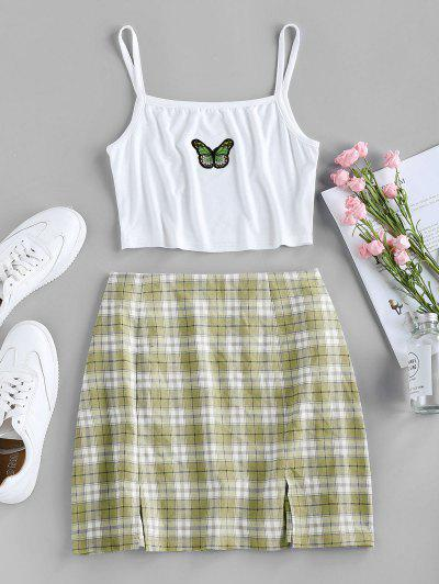 ZAFUL Butterfly Embroidered Crop Camisole And Plaid Slit Skirt Set - Avocado Green M