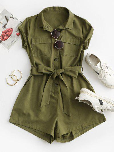 Belted Pockets Solid Cargo Romper - Green S
