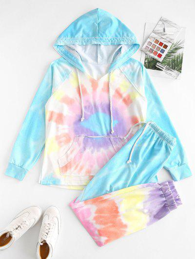Ombre Tie Dye Front Pocket Lounge Two Piece Set - Light Blue L