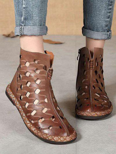 Hollow Out Leather Ankle Flat Boots - Coffee Eu 37