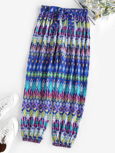 ZAFUL Belted Ethnic Geo Print Elastic Cuff Pants - Blue S